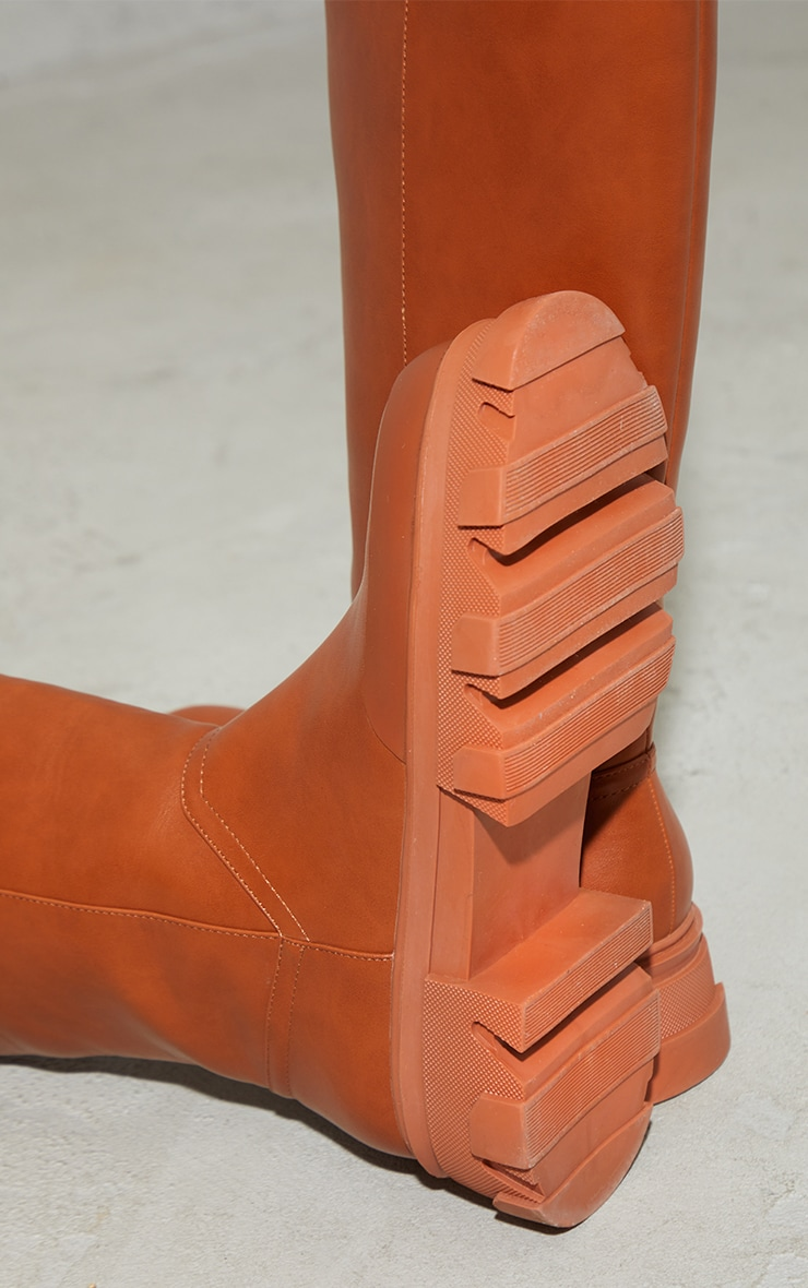 Toffee PU Round Toe Chunky Welly Knee Boots 4