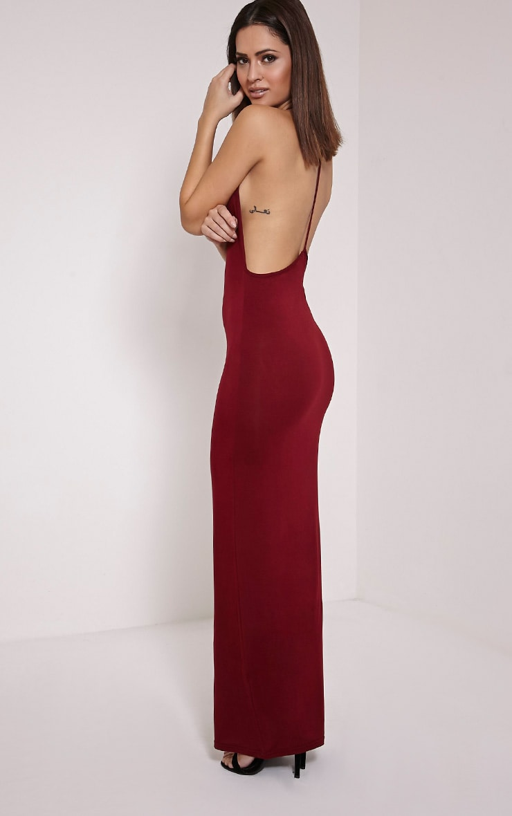 Basic Burgundy T Bar Back Maxi Dress 1