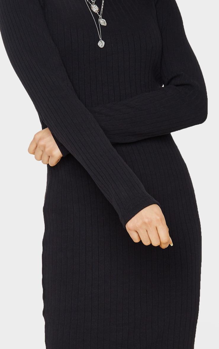 Tall - Robe mi-longue en maille noire à manches longues 5