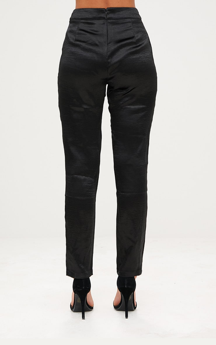 Black Hammered Satin Trousers 4