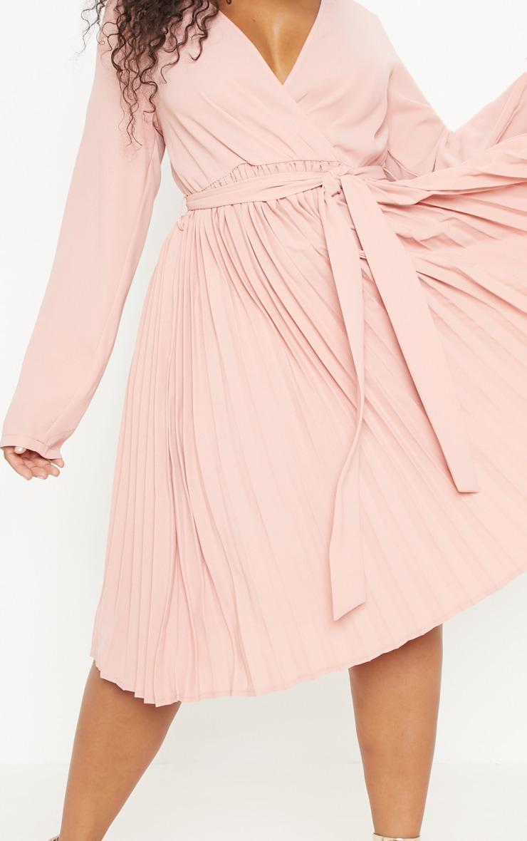 Plus Rose Long Sleeve Pleated Midi Dress 5