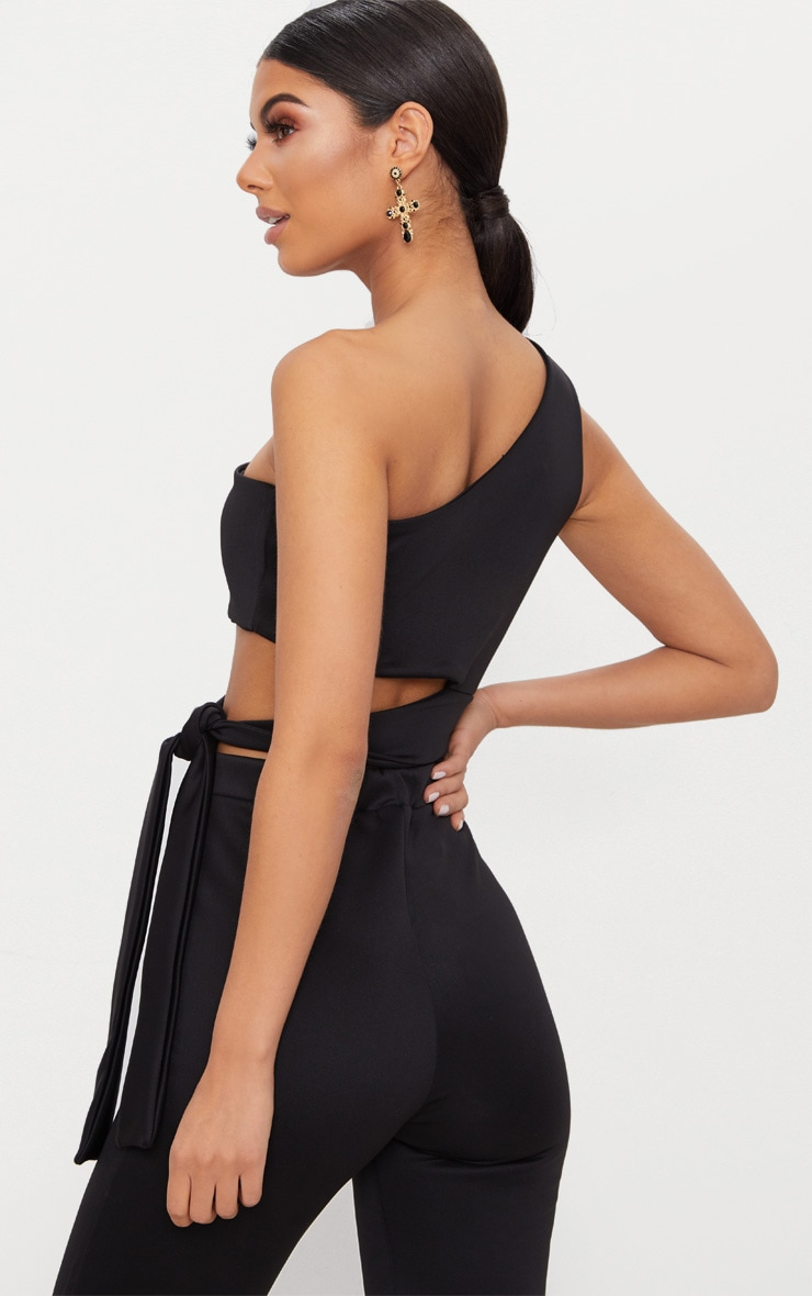 Black One Shoulder Tie Detail Crop Top 2