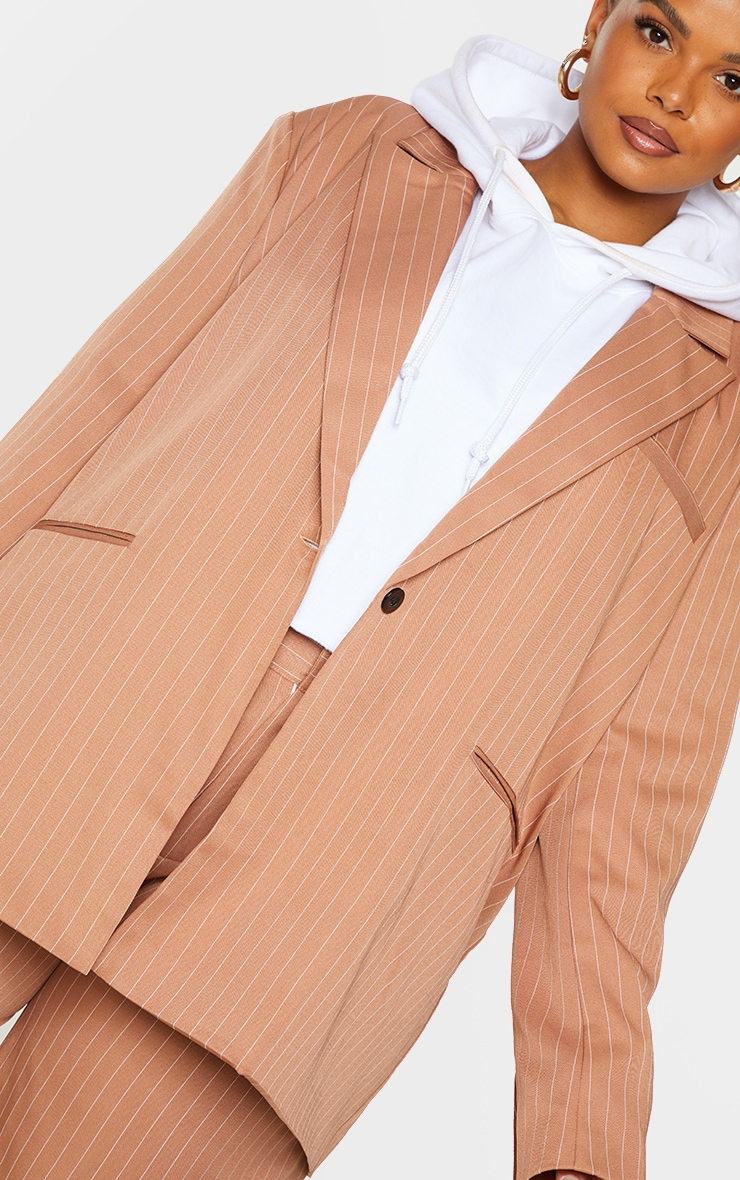 Plus Brown Pinstripe Oversized Dad Blazer 4