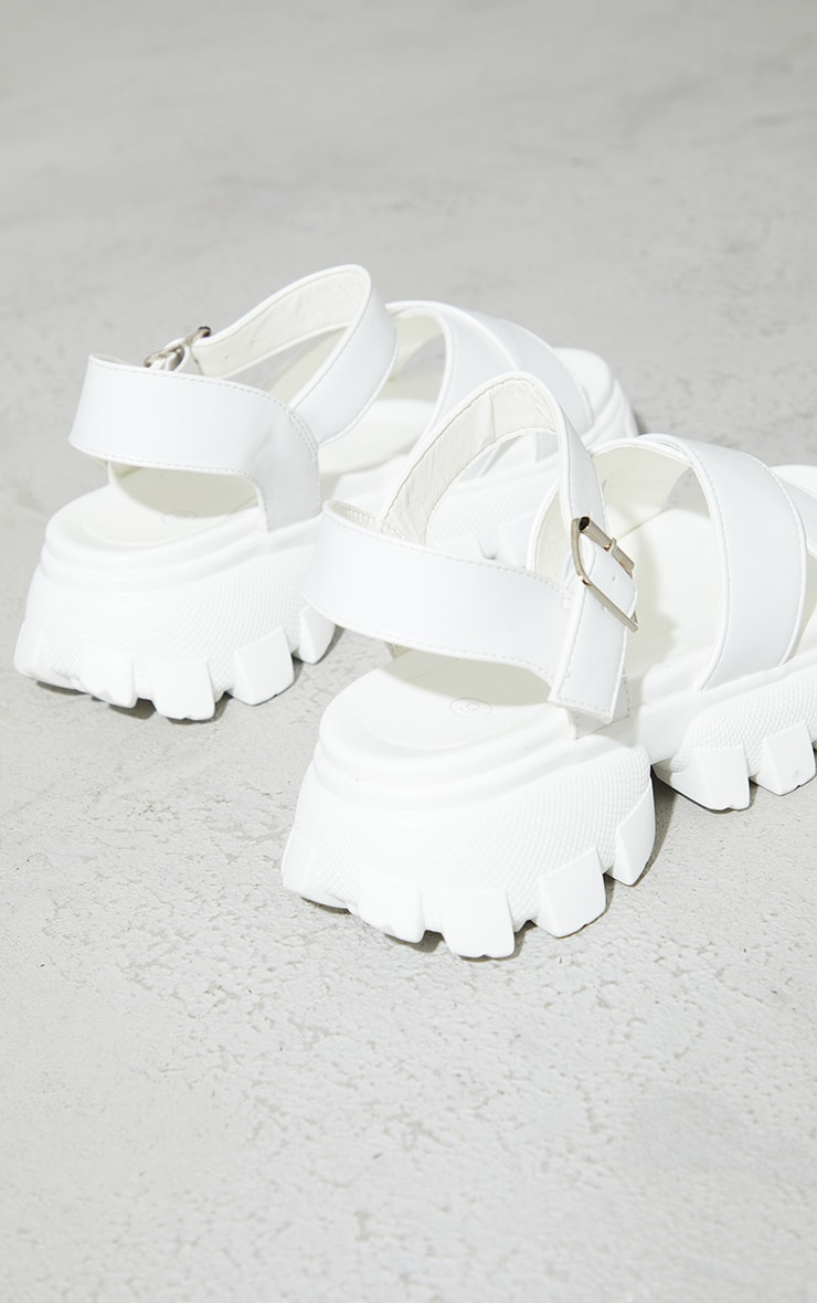 White Pu Extreme Cleated Sole Cross Strap Sports Sandals 4