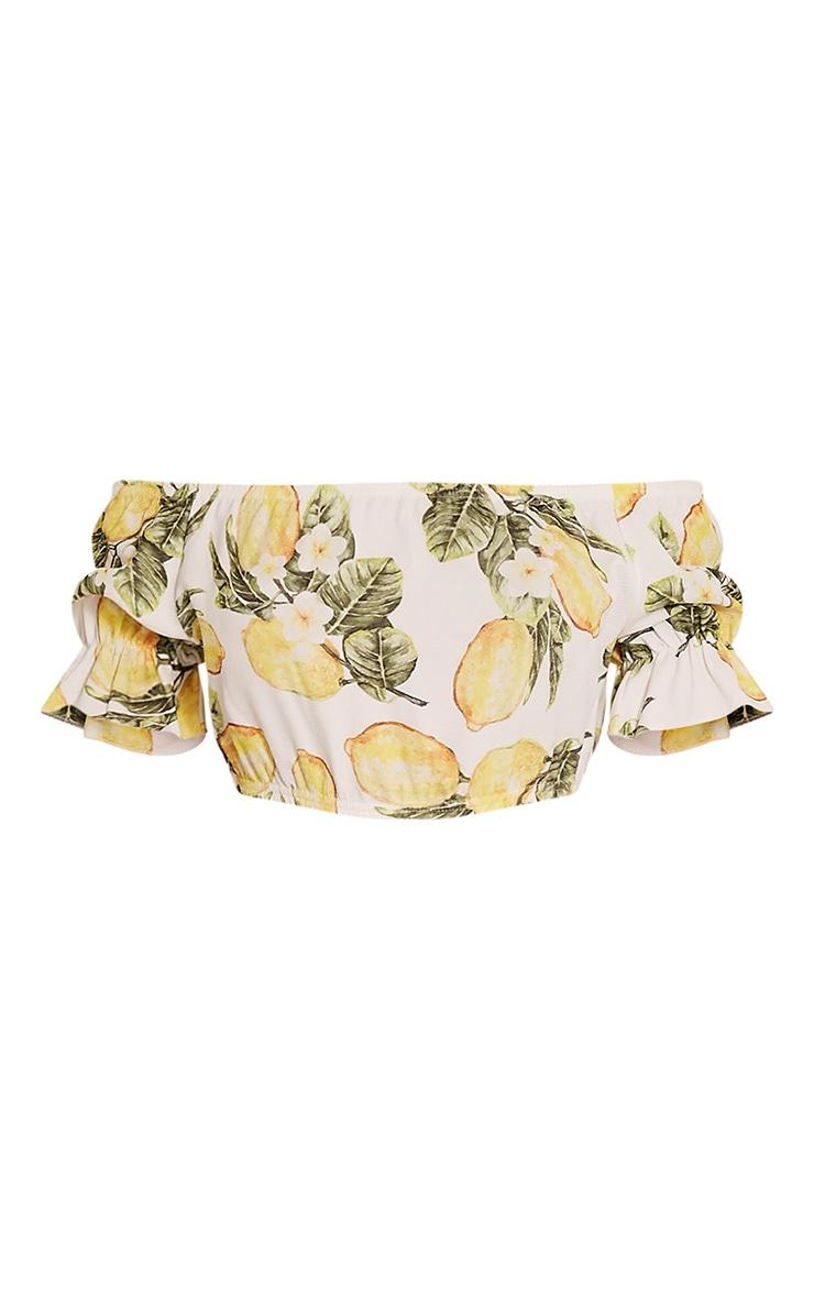 Farren White Lemon Print Bardot Crop Top 3