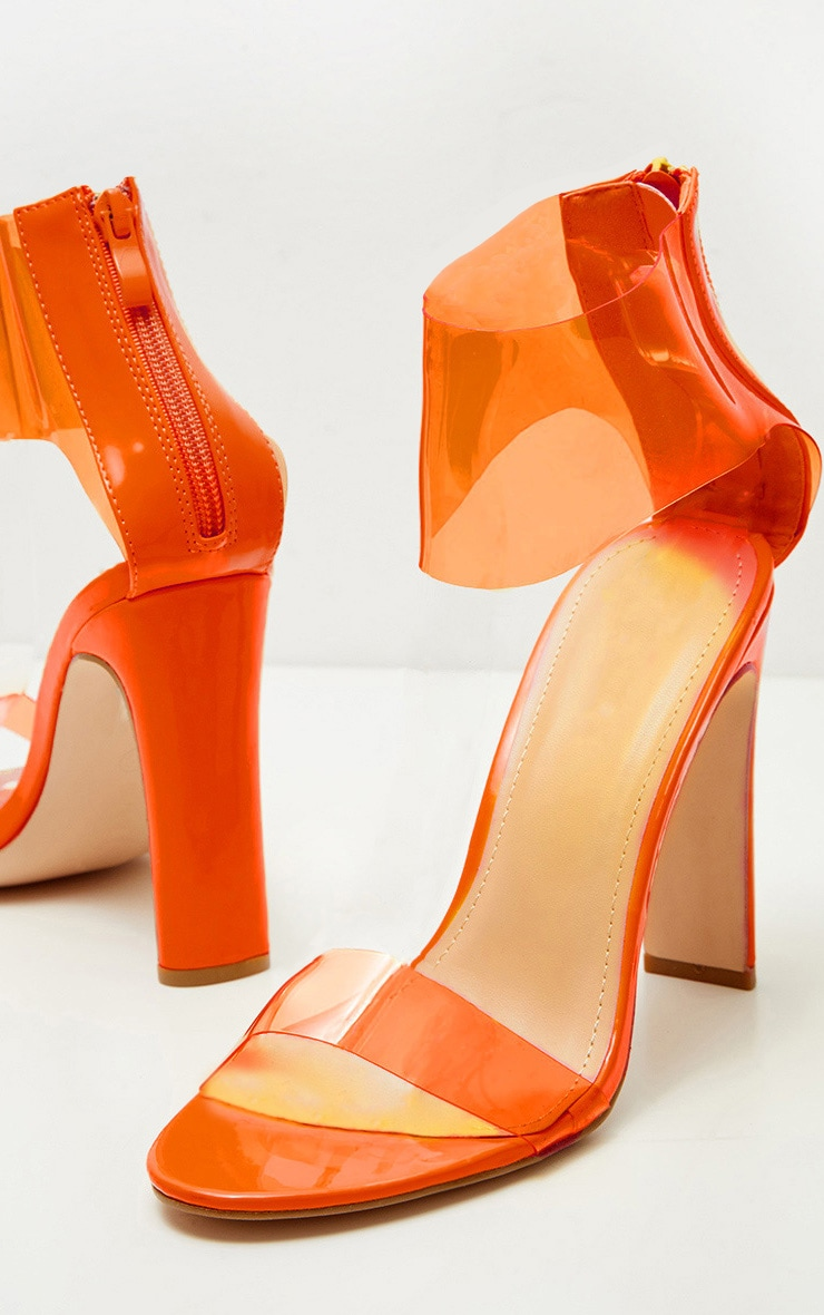 Orange Flat Heel Clear Cuff Strappy Sandal 4