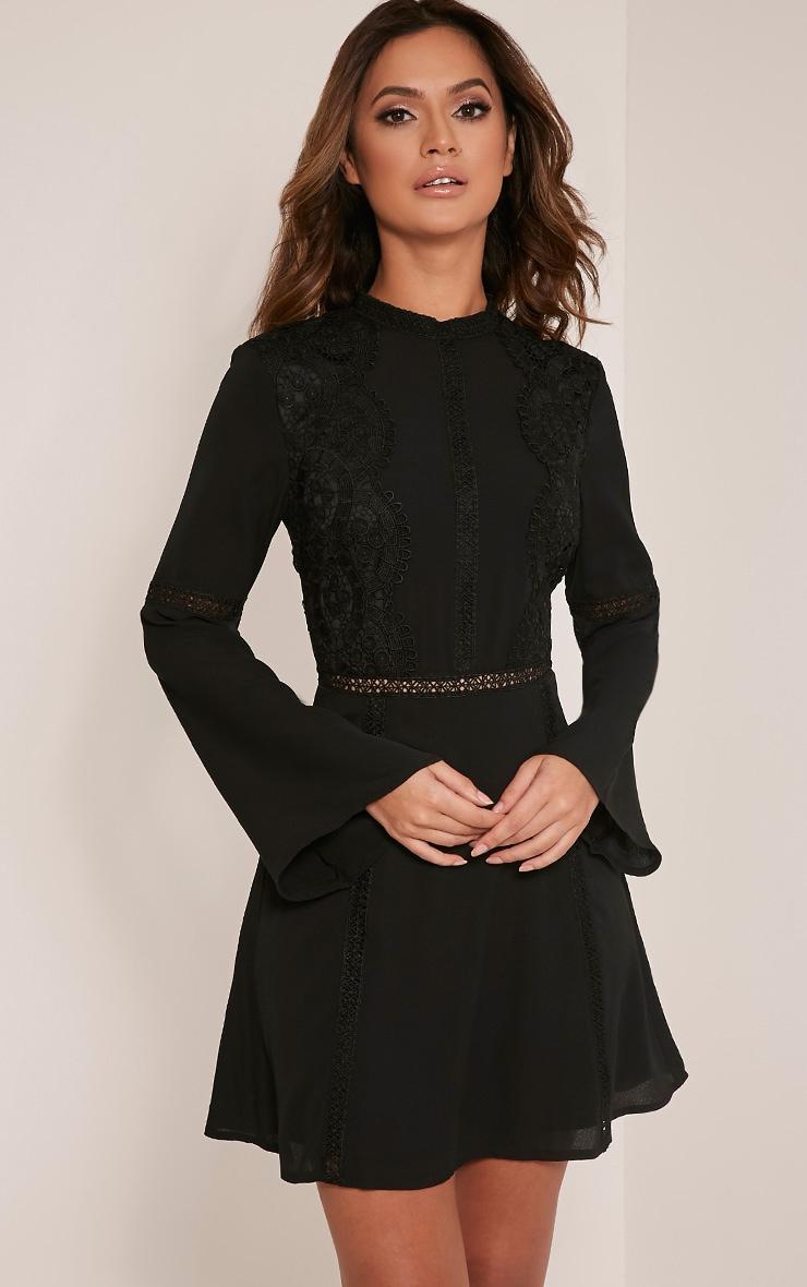 Sian Black Lace Detail Skater Dress 1