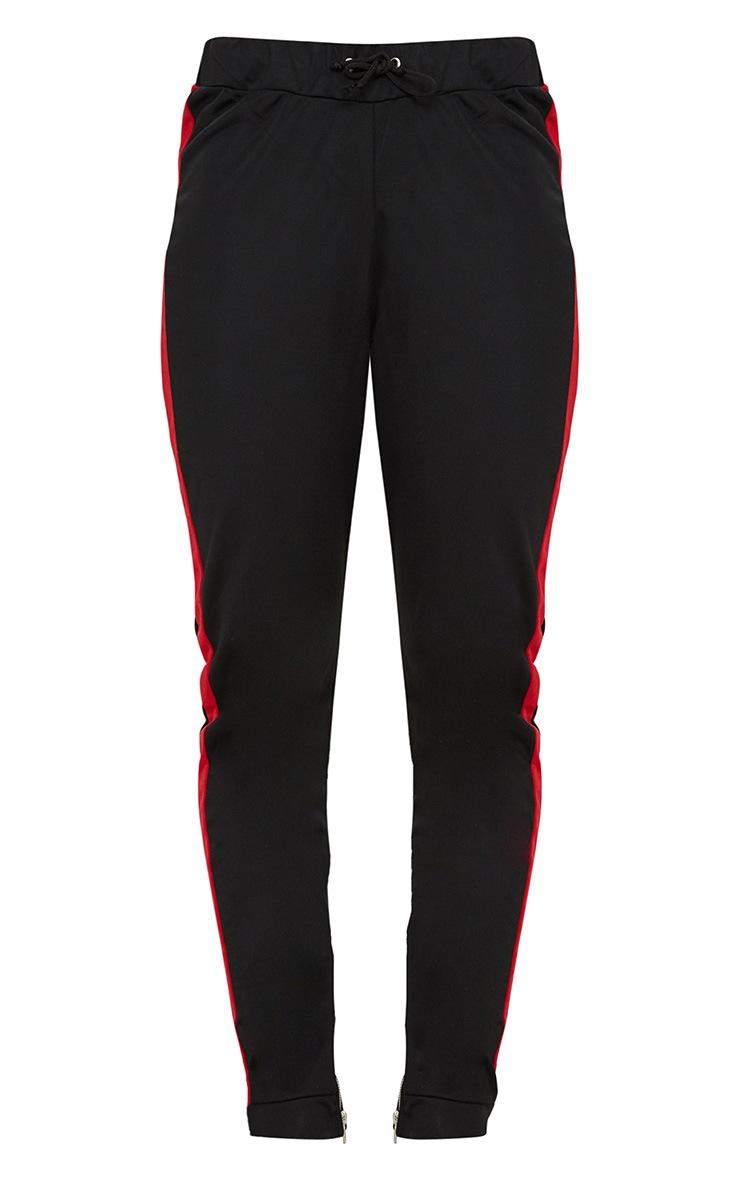 Black Scuba Contrast Stripe Joggers  3