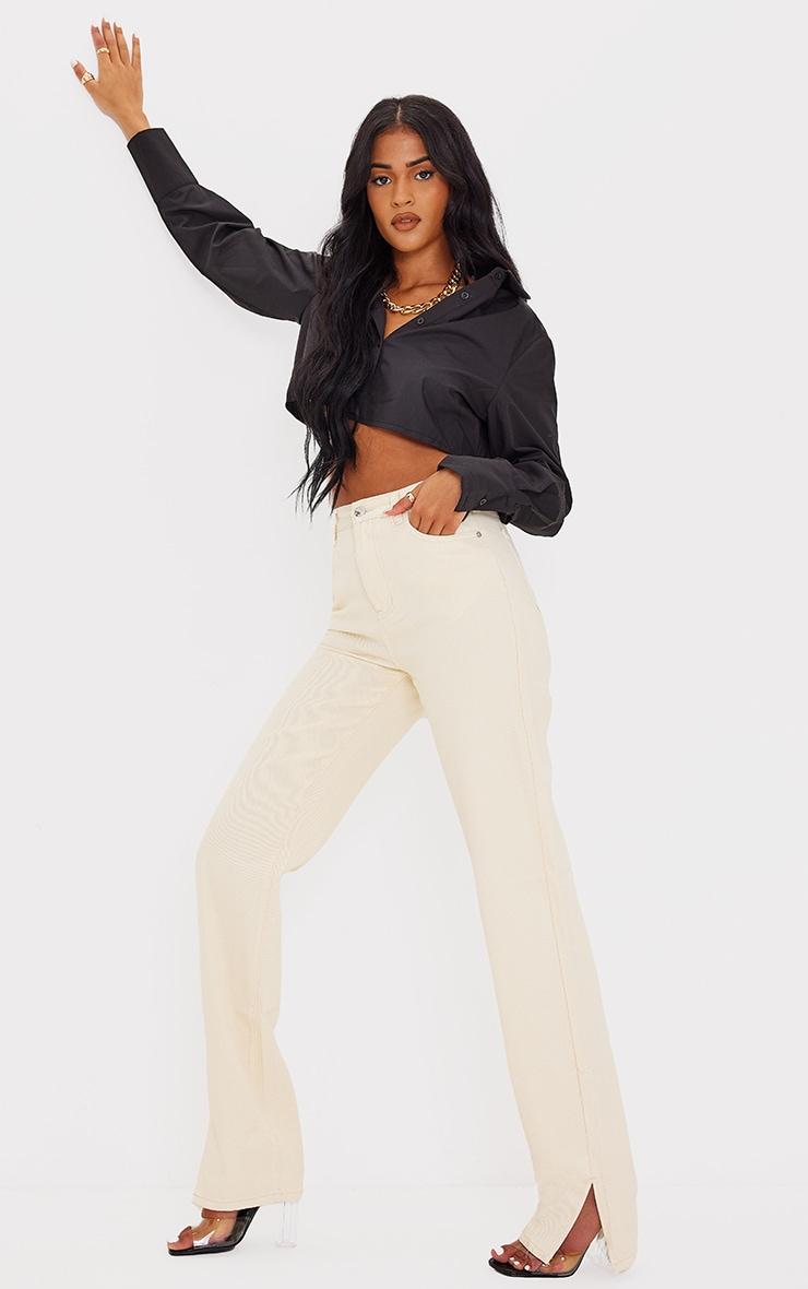 Tall Ecru Split Hem Denim Jeans 1