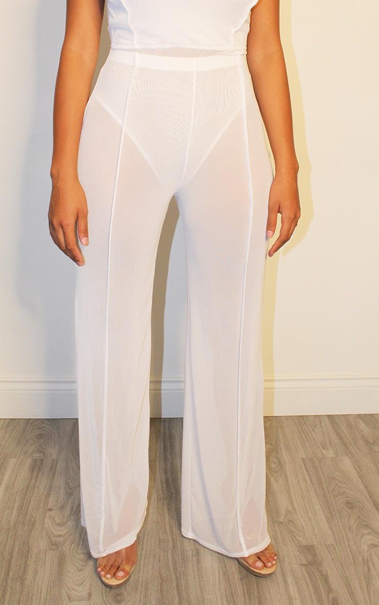 Shape White Mesh Binding Detail Wide Leg Trousers 2