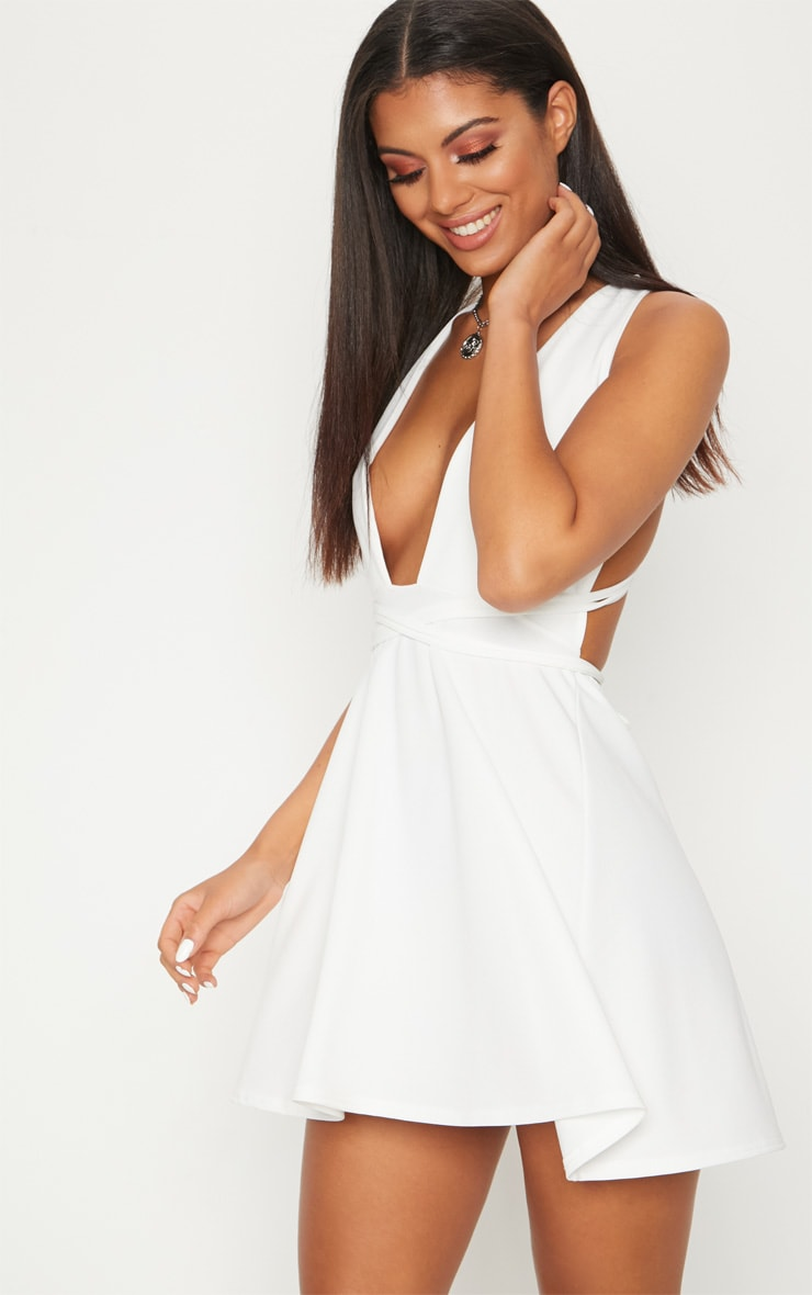 White Wrap Detail Skater Dress 1