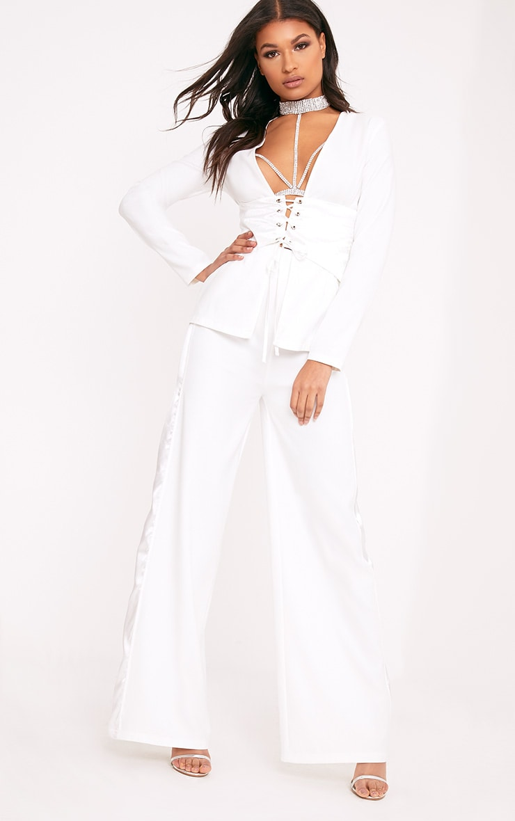 Rayla White Wide Leg Satin Stripe Suit Trousers 1