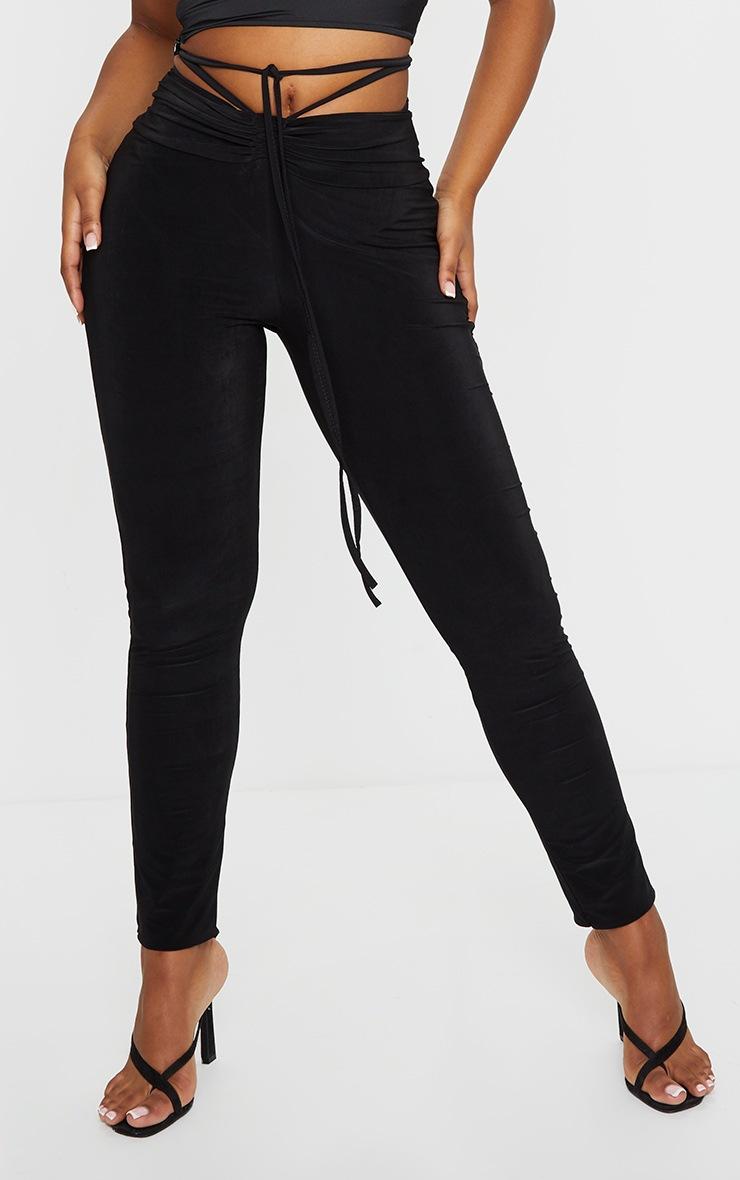 Black Slinky Ruched Waist Skinny Pants 2