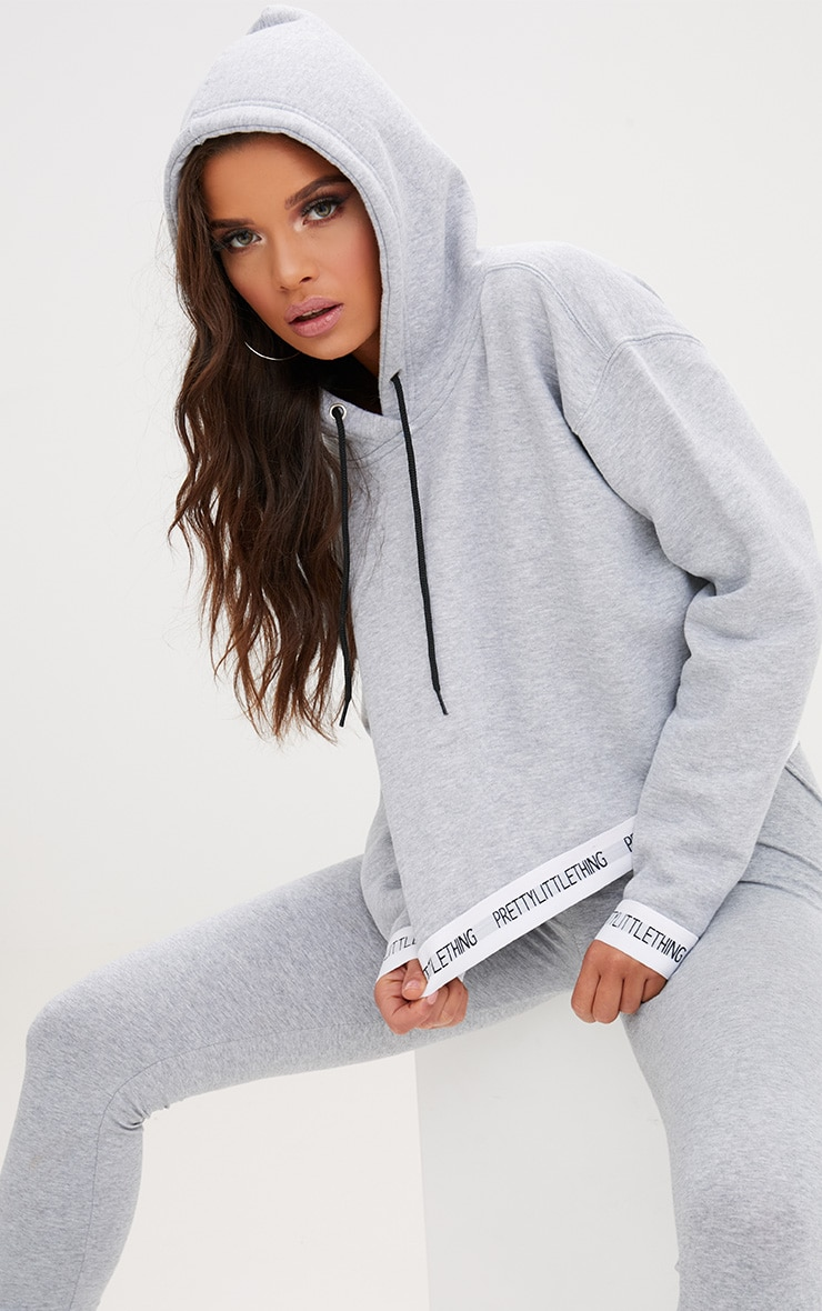 PRETTYLITTLETHING Grey Trim Cropped Hoodie 1