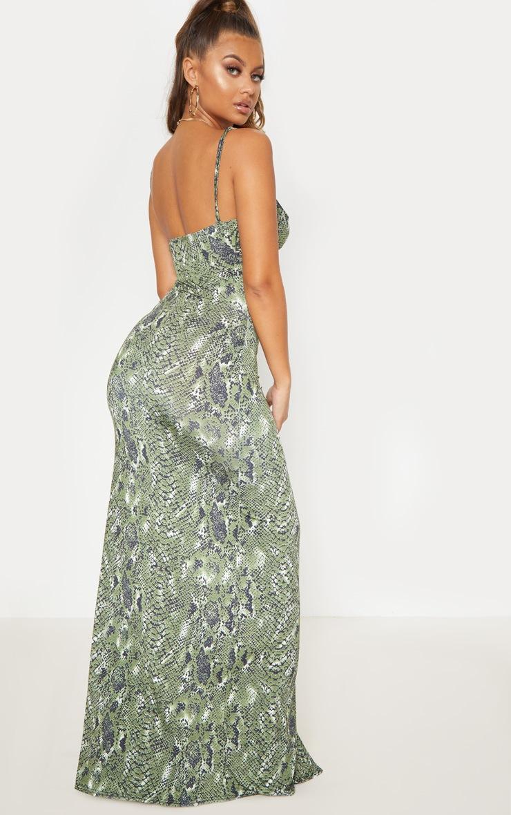 Green Snake Print Extreme Split Maxi Dress 3