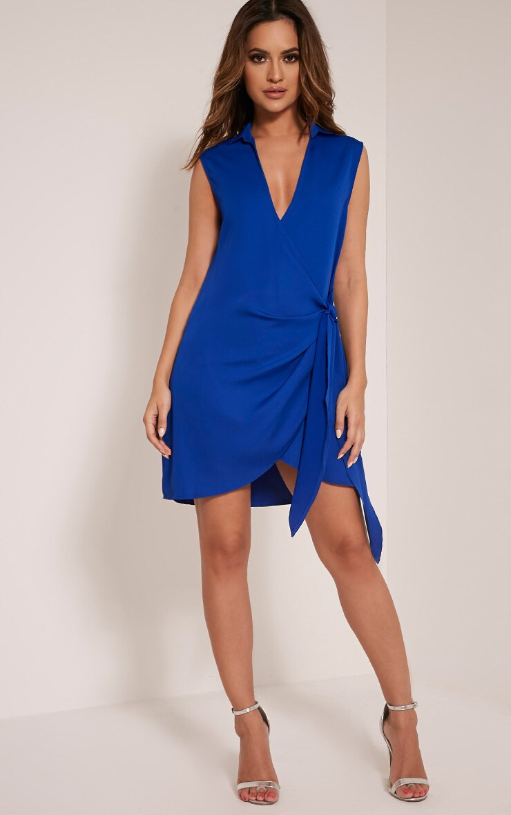 Shaylene Cobalt Sleeveless Tie Side Satin Shirt Dress 1