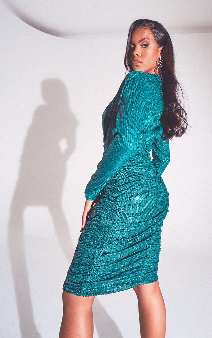 Emerald Green Sequin Shoulder Pad Ruched Front Midi Dress 2