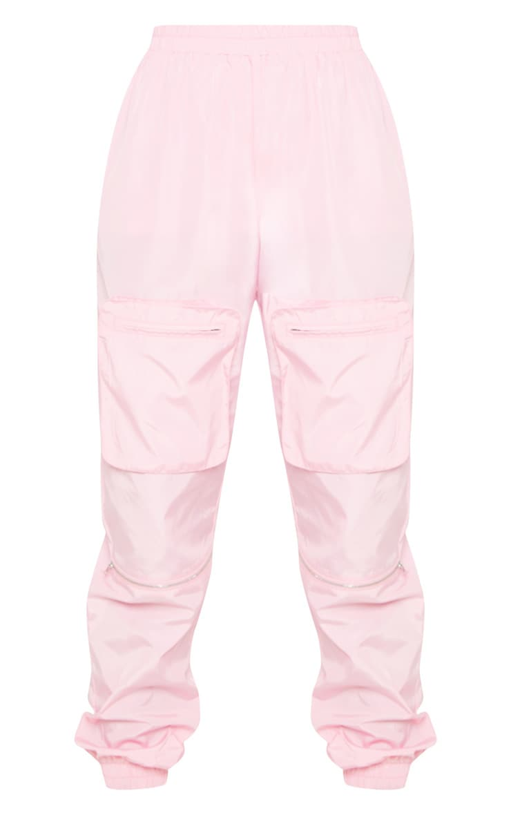 Tall Baby Pink Cargo Zip Pocket Detail Trousers 3