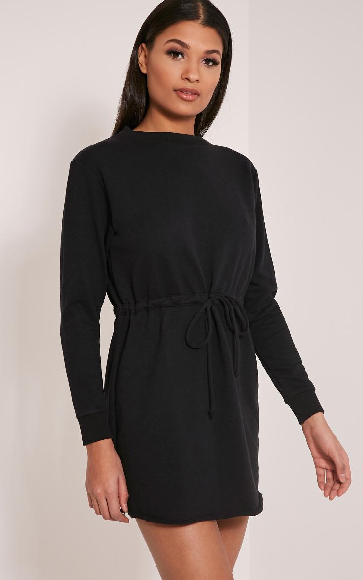 Demmi Black Tie Waist Sweater Dress 4