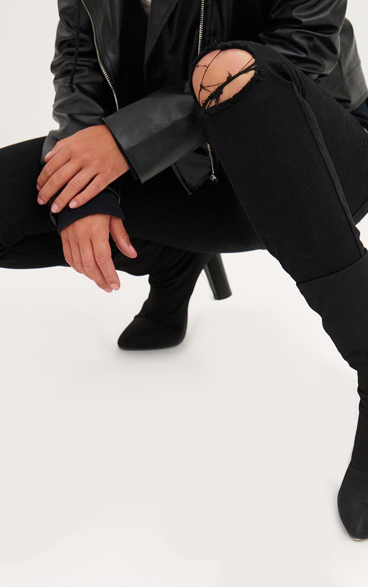 Black Frayed Hem Knee Rip Skinny Jean 5