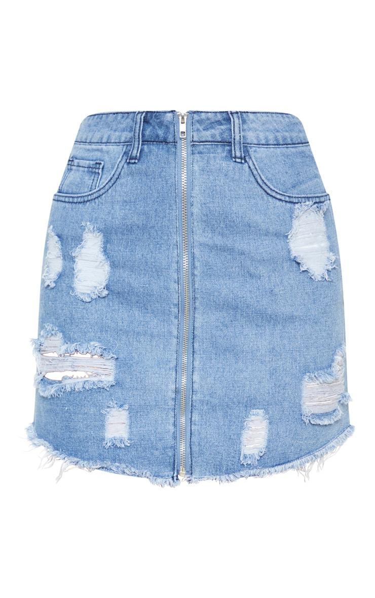 Mid Wash Distressed Front Zip Denim Mini Skirt 3