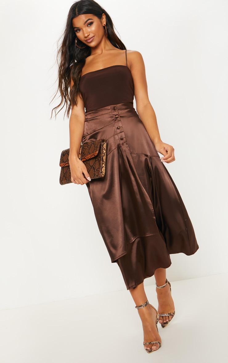 Chocolate Satin Button Waist Midi Skirt 1
