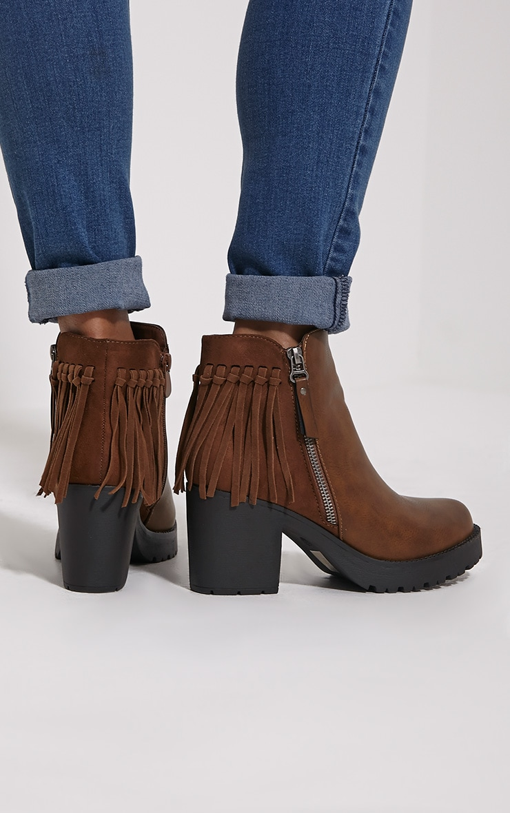 Juana Brown Chunky Tassel Ankle Boots 2