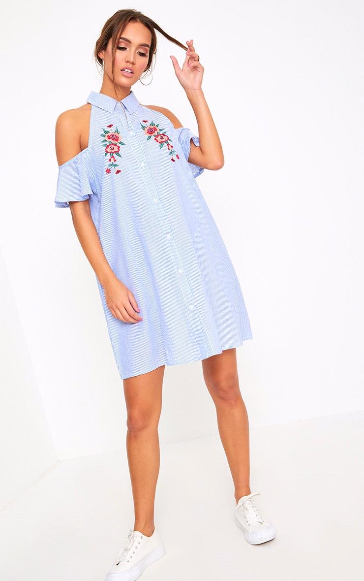 Blue Pinstripe Cold Shoulder Embroidered Shirt Dress 4