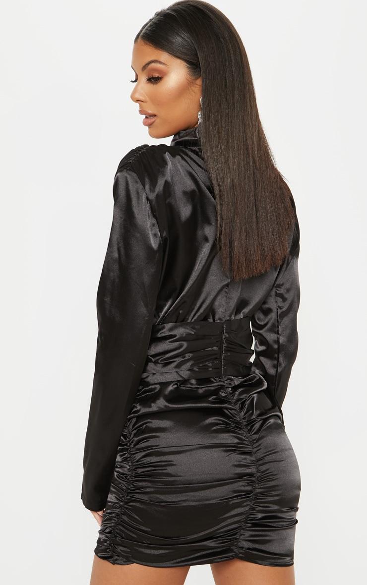 Black Satin Ruched Bodycon Dress Dresses Prettylittlething