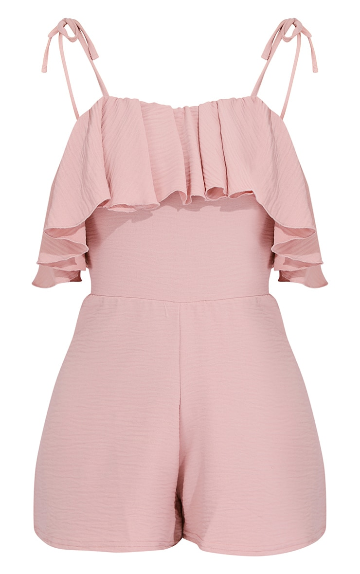 Dusty Pink Crinkle Frill Detail Strappy Romper 5