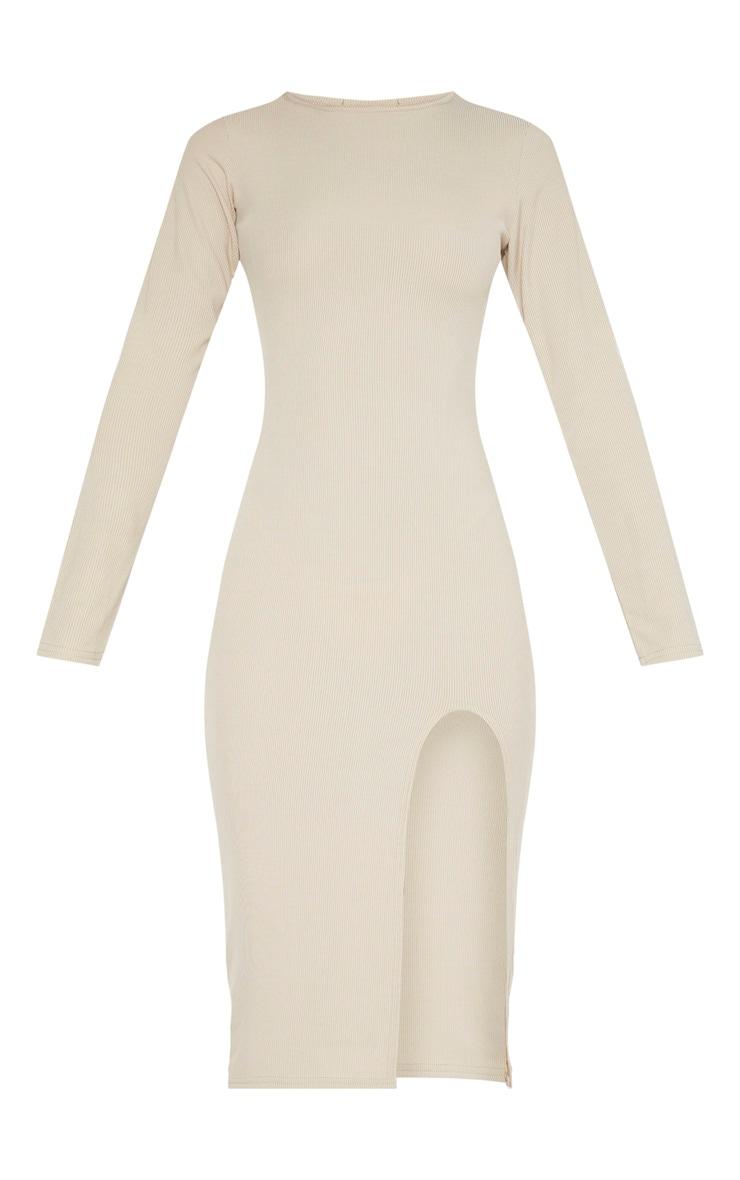 Biscuit Rib Long Sleeve Split Front Midi Dress 3