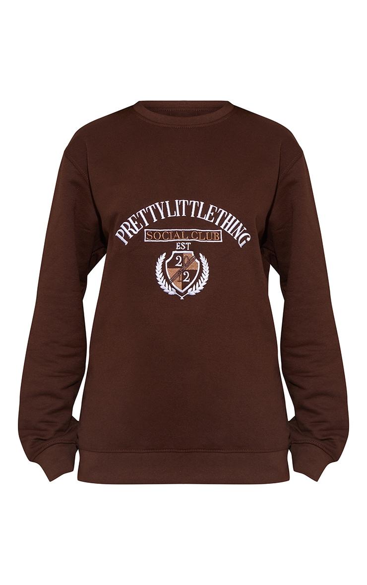 PRETTYLITTLETHING Chocolate Social Club Embroidered Sweatshirt 5