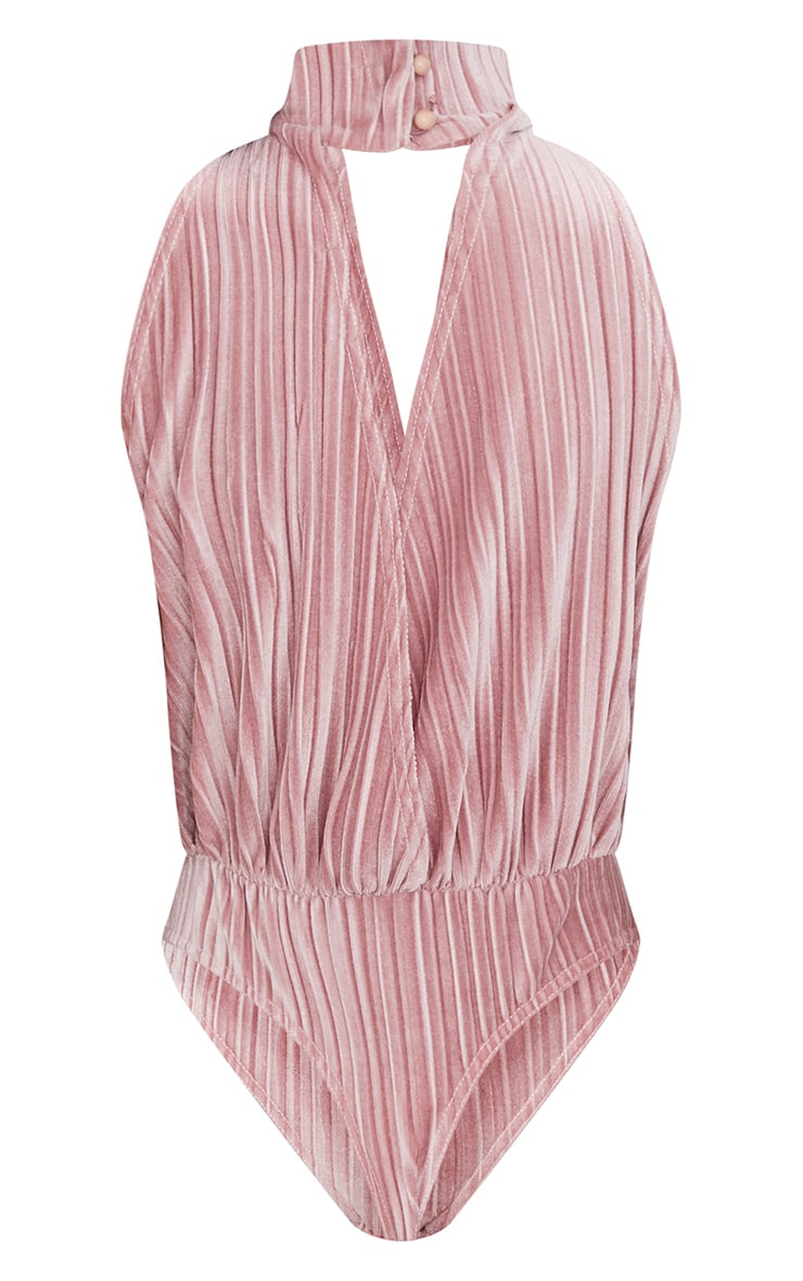 Blush Pleated Velvet Drop Armhole Thong Bodysuit 4