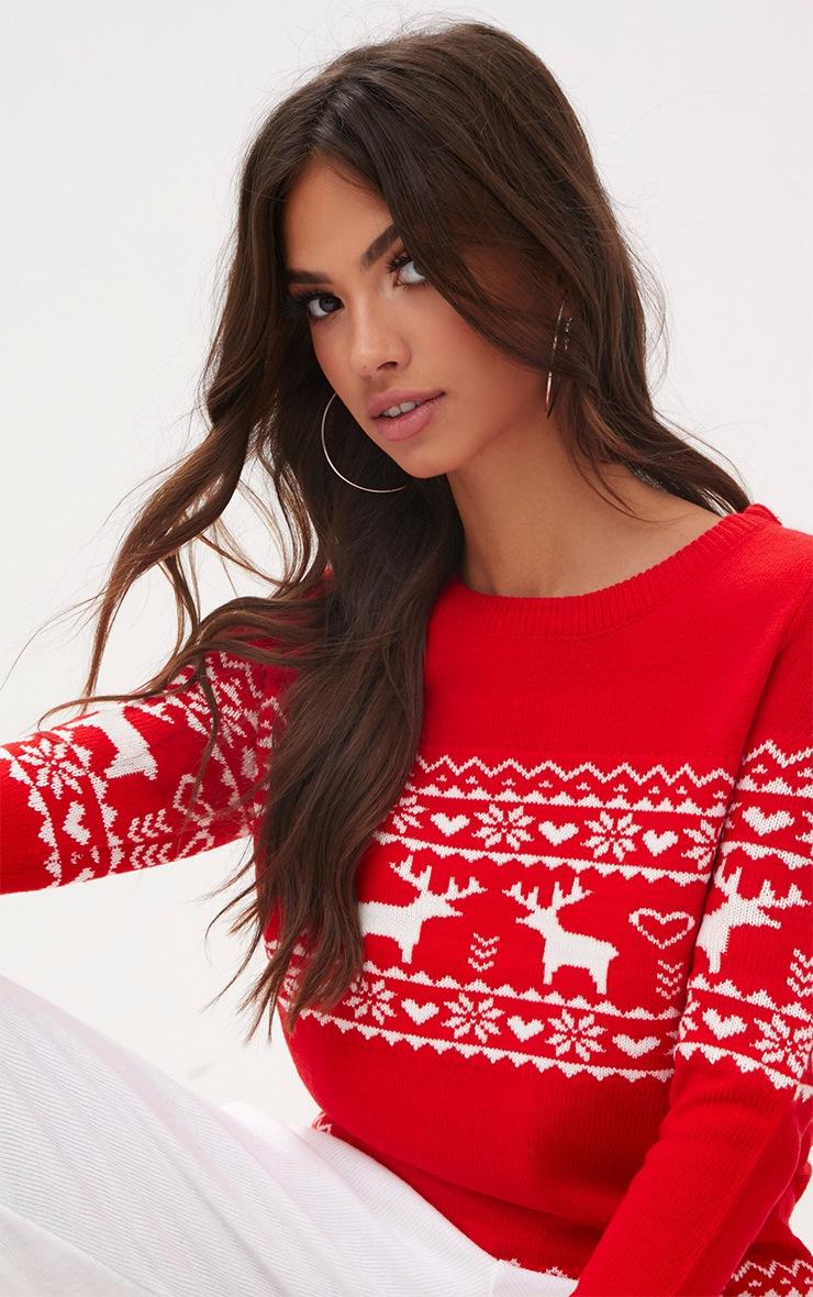 Red Fairisle Reindeer Christmas Jumper 5