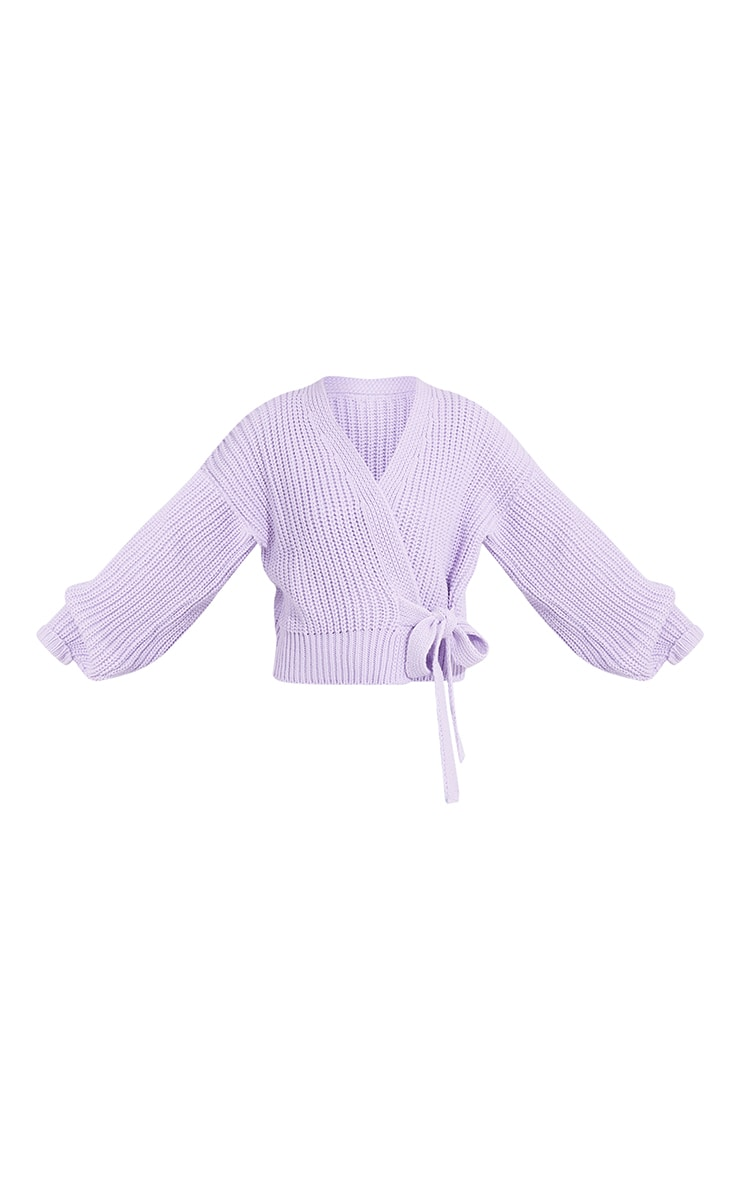 Lilac Chunky Tie Waist Belted Cardigan 5