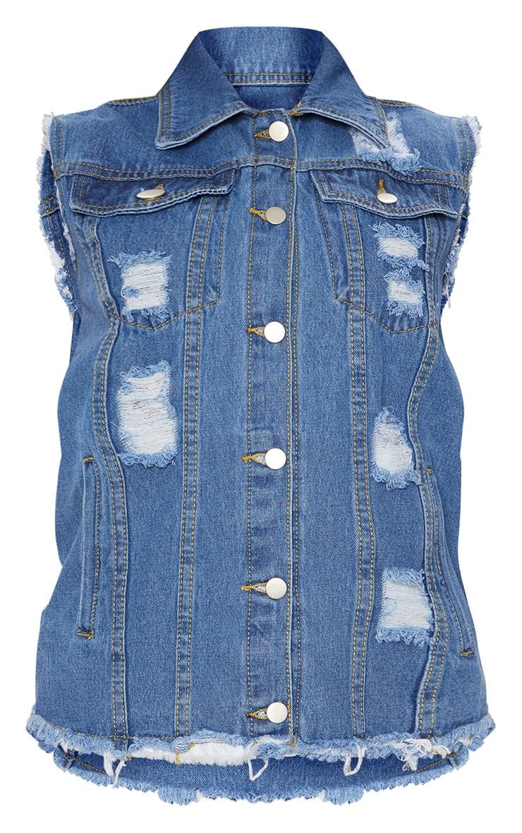 Mid Wash Sleeveless Oversized Denim Jacket 3