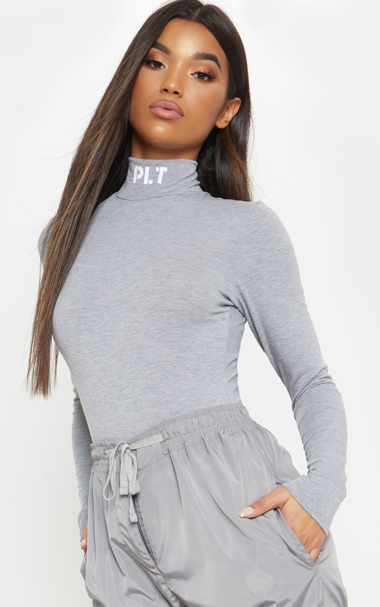 Grey Slogan High Neck Bodysuit
