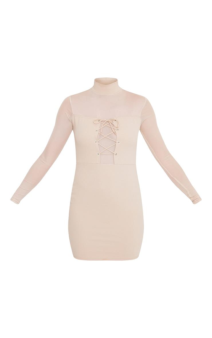 Kelissia Nude Corset Detail Mesh Bodycon Dress 3