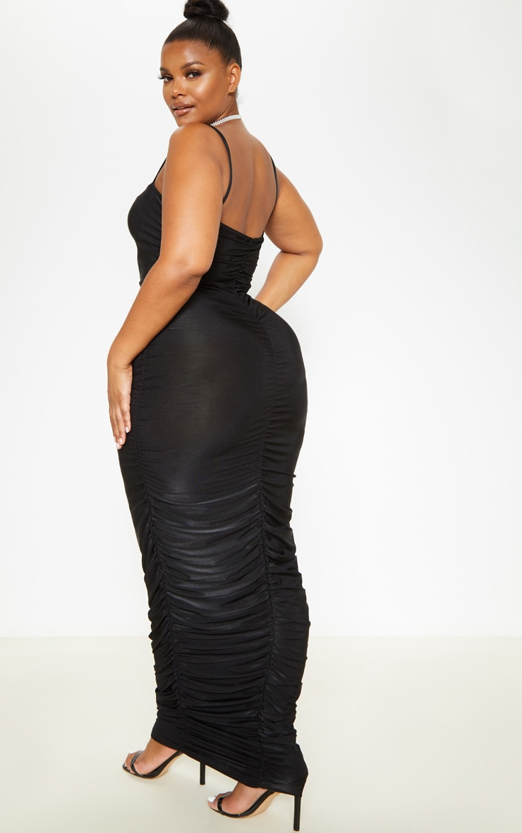 Plus Black Strappy Slinky Ruched Back Maxi Dress 2