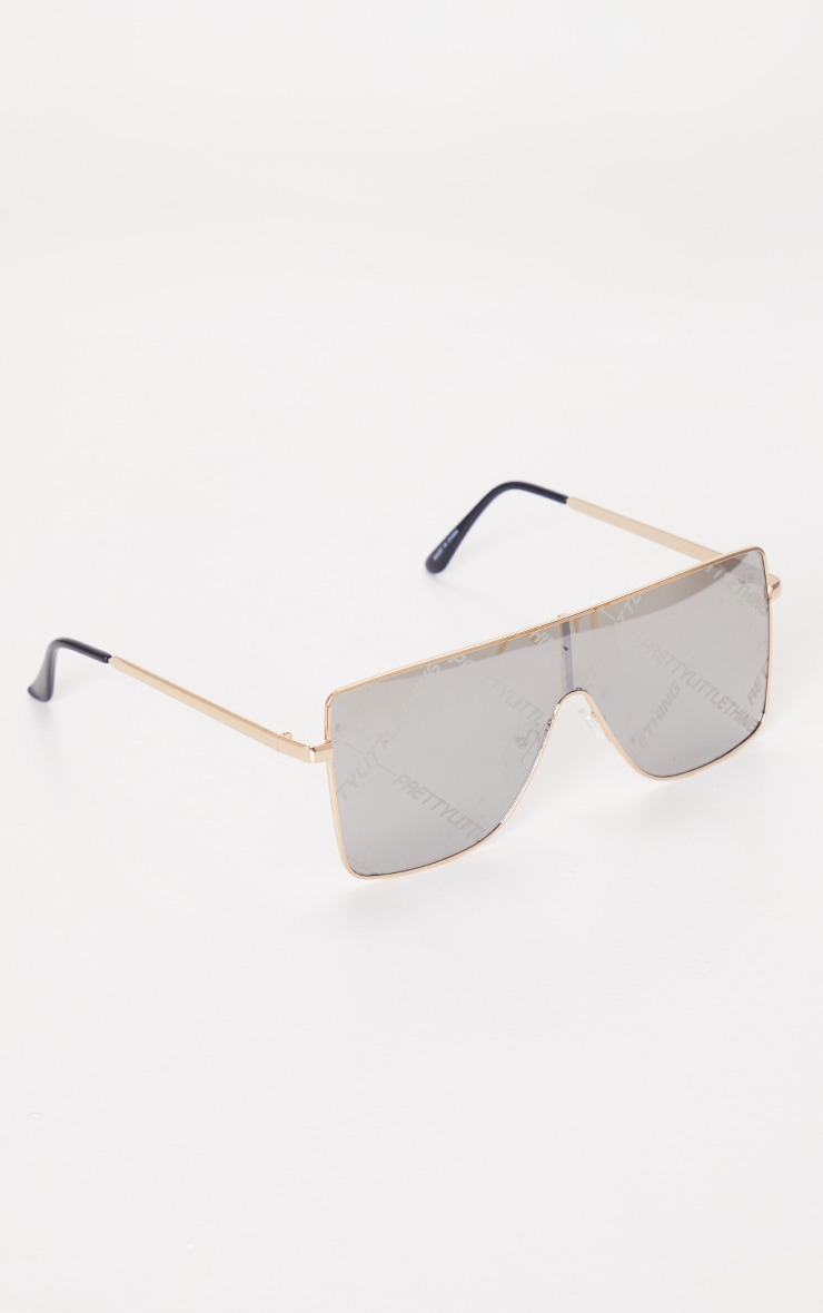 PRETTYLITTLETHING Silver Square Frame Sunglasses 2