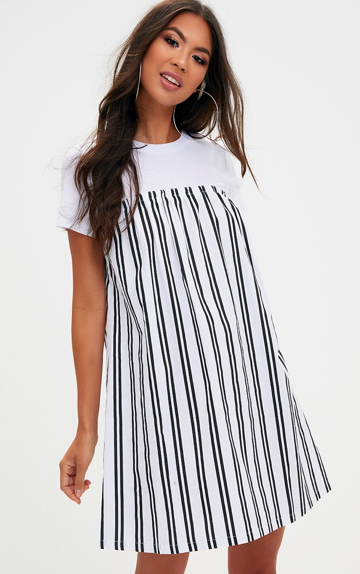 Black Striped T Shirt Dress 1