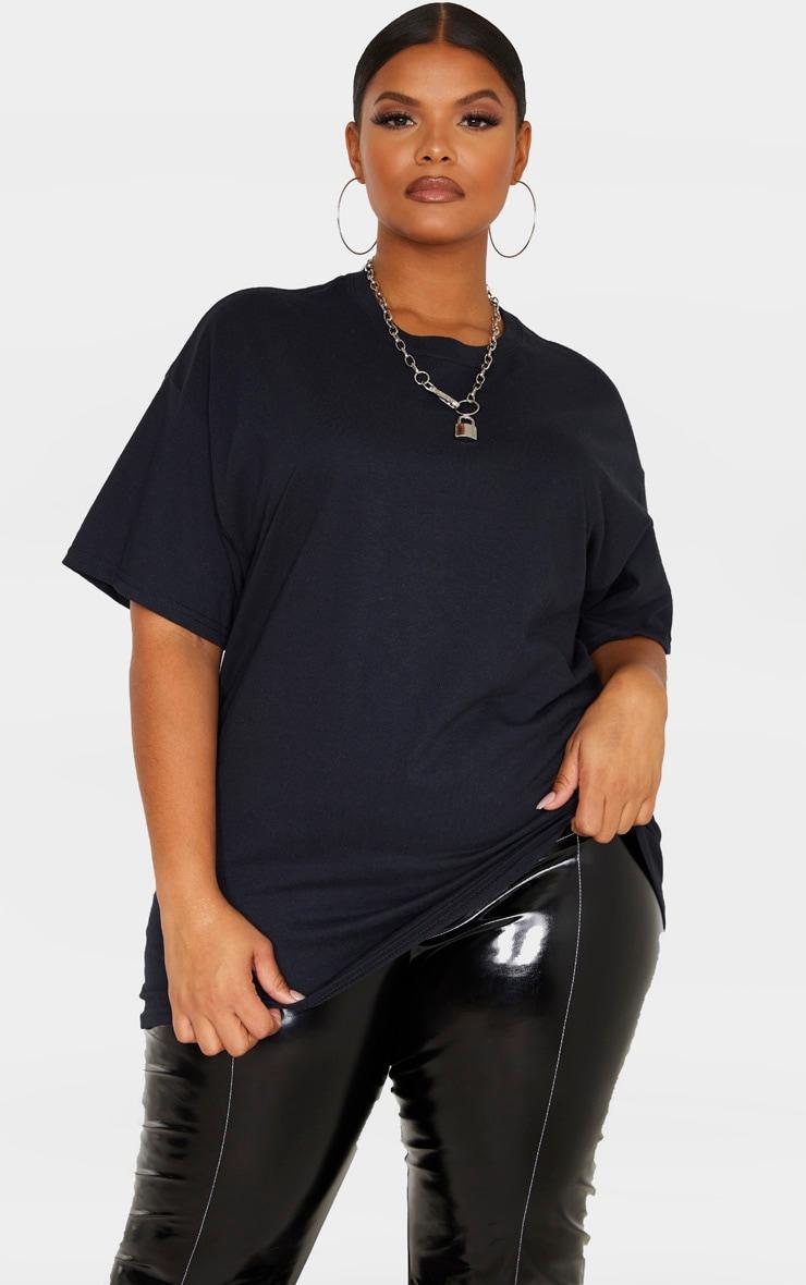 Plus Black Oversized Basic Bitch Slogan T Shirt 2