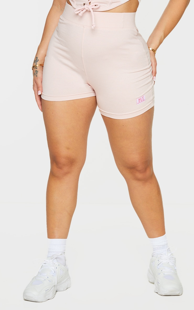 PRETTYLITTLETHING Shape Baby Pink Badge Detail Shorts 2