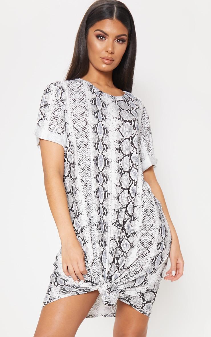 Grey Knot Detail T Shirt Dress 1