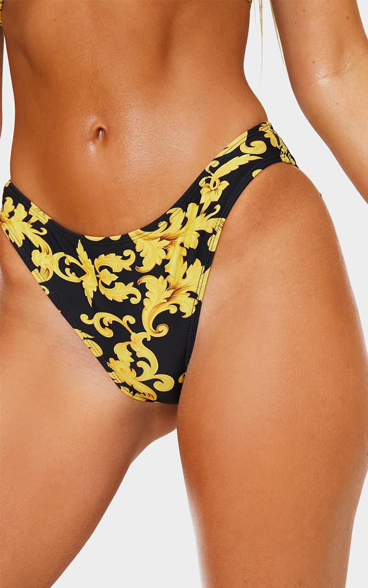 Bas de bikini noir échancré à imprimé chaîne  5