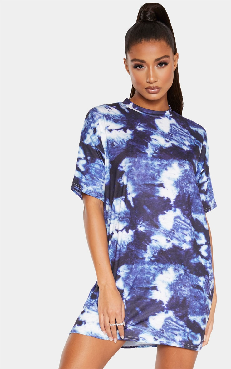 Blue Tie Dye Oversized T-Shirt Dres 1