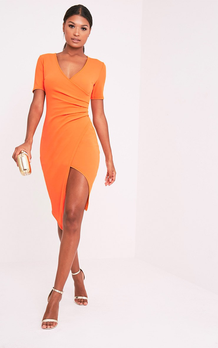 Ivie Orange Short Sleeve Wrap Front Midi Dress 1