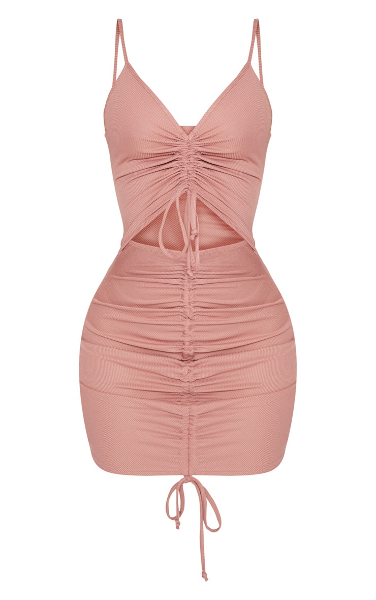 Shape Rose Ribbed Ruched Cut Out Bodycon Dress 3