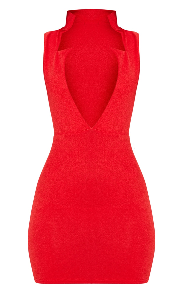 Red Sleeveless Extreme Plunge Collar Detail Bodycon Dress 3