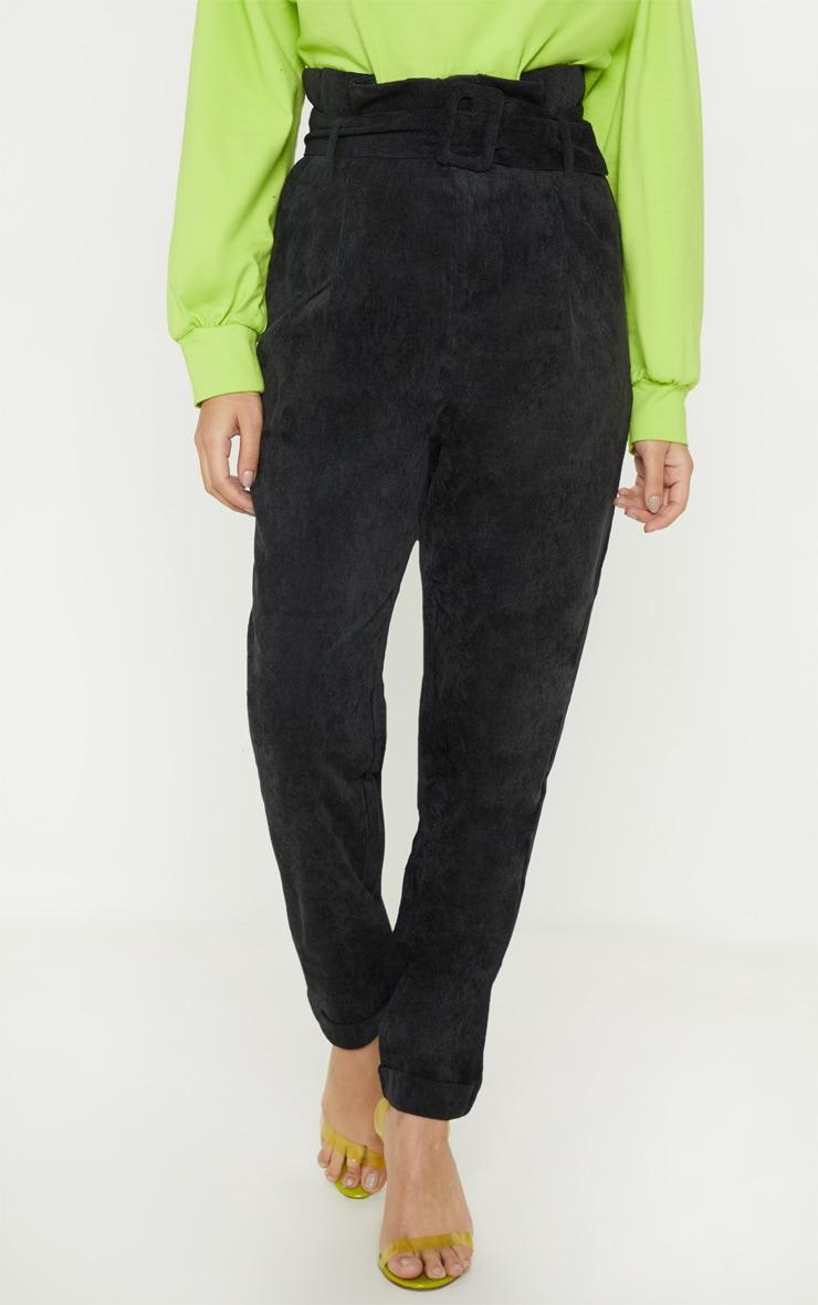 Petite Black Cord Paperbag Belted Pants 2